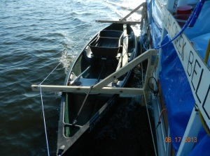 our canoe cradle which hold the canoe alongside