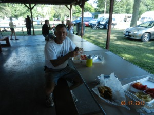 eating at Keithsburg corn boil