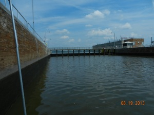 upper gate of L&D 19 , upper water level,  will now drop 38 feet