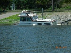 sunken house boat