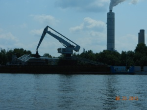 Unloading coal for nearby electrical power plant