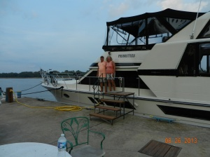 Randy and Sherri Chester and their boat, Priorites at Hoppies Marina