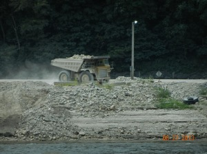 Hauling rock from nearby quarry.