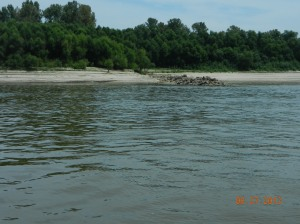 Rock wing dams, sand bank and sand bars line very much of the river
