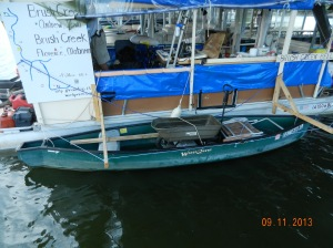 Our canoe in its cradle at side of boat