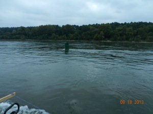 navigation bouys showing strong current for several miles below Pickwick Dam