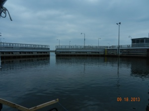 lock filled, upper gates opening and we can go out onto the lake